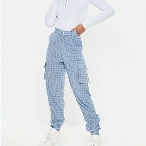 MISSGUIDED BLUE PLAID JOGGERS